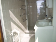 En suite shower, toilet and basin